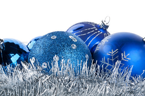 blue christmas balls isolated on a white background